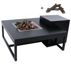 Enjoyfires vuurtafel Ambiance vierkant zwart-zwart 90x90x35 cm