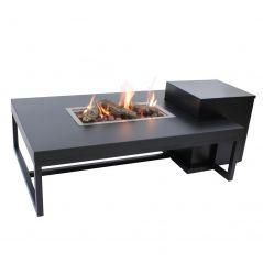 Enjoyfires vuurtafel Ambiance rechthoek zwart-zwart 120x80x35 cm