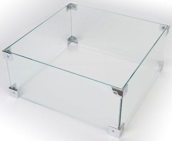Happy Cocooning glazen ombouw voor vuurtafel vierkant klein 49x49x21 cm