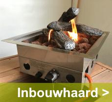 Maak een vuurtafel van uw eigen tafel met een inbouwhaard